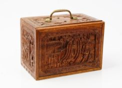 An early 20th century Chinese bone and bamboo Mahjong set in a carved hardwood case fitted with