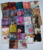 A collection of 1950s and later silk scarves of various floral printed and abstract floral printed