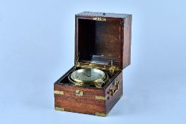 A brass-bound rosewood and mahogany Marine Chronometer signed Barraud, 41 Cornhill, London, No.