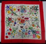 A Gucci 'Flora Spighe' silk scarf designed by Vittorio Accornero for Gucci,