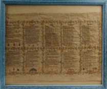 A WWII military sampler with ten poems, to include a hymn for the RAF and bowbells,