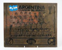 Football memorabilia; a brass printing plate engraved with the 1978 Argentina World Cup squad, 32cm,
