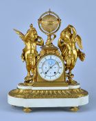 A French ormolu and marble Mantel Clock Late 19th Century Modelled with two cherubs and a globe,