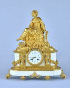 A French gilt bronze and white marble mantel clock Circa 1870 Modelled with a Renaissance lady The