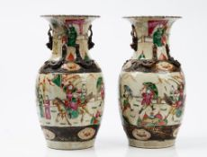 A pair of late 19th century Chinese crackle glazed baluster vases, 34cm high.