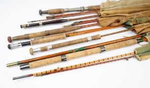 A group of seven vintage fishing rods, to include a Hardy 'Palakona' two piece split cane rod,