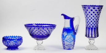 Four pieces of blue flashed glass, 20th century,