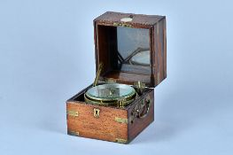 A BRASS-BOUND ROSEWOOD TWO-DAY MARINE CHRONOMETER Signed Bruce, Liverpool, No.