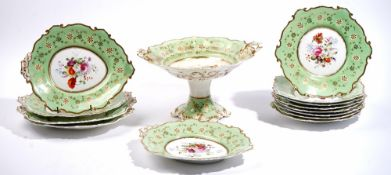 An English porcelain part dessert service, possibly Minton or Ridgway, circa 1840's,