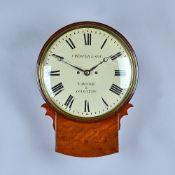 A mahogany striking Drop Dial wall clock J.