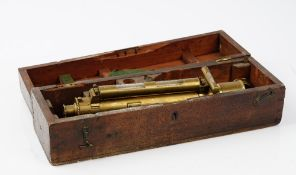A 19th century brass surveyors telescope by Troughton & Simms, London, cased.
