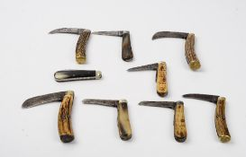 A group of nine bone handled pocket knives, including examples by Saynor,