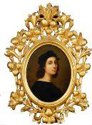 After Raphael, Self Portrait, oil on board, 20.5 x 16cm.