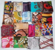 A collection 1960s and 1970s printed silk scarves,