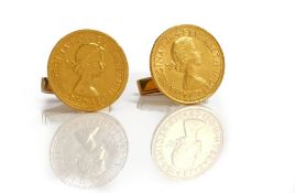 Two Elizabeth II sovereigns, both 1966, mounted as a pair of cufflinks by Kutchinsky Limited,