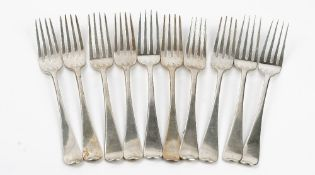 Ten silver Old English pattern table forks comprising five London 1813,