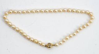 A single strand uniform cultured pearl necklace,