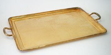 An Italian large modern rectangular gilt twin-handled tray,