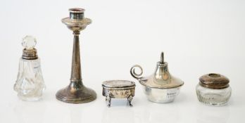 Silver and silver mounted wares, comprising; a table lighter, Birmingham 1924, weight 68 gms,