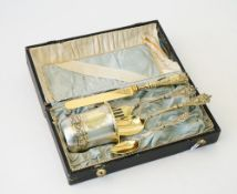 A Continental parcel gilt five piece christening set, last quarter of the 19th century,