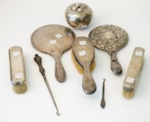 Silver and silver mounted wares, comprising; a hand mirror, Birmingham 1922, another hand mirror,