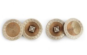 A pair of two colour gold and diamond dress cufflinks,