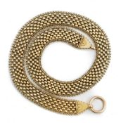 A late 19th/early 20 the century yellow precious metal collar necklace of mesh design,