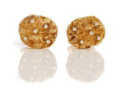 A pair of 9ct gold and diamond dress cufflinks,