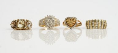 A collection of three 9ct gold and diamond set dress rings comprising a diamond and coloured