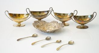 Silver, comprising; a set of four George III twin handled salts, each of oval form,