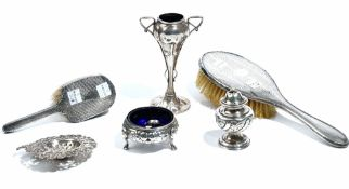 Silver and silver mounted wares, comprising; a twin handled vase of Art Nouveau design,