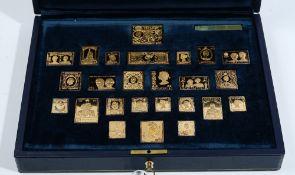 A set of twenty-five silver gilt replica postage stamp ingots,