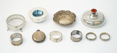 Silver and silver mounted wares, comprising; a late Victorian bonbon dish,