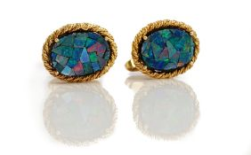 A pair of 9ct gold and opal dress cufflinks,