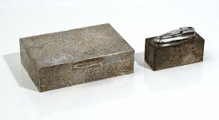 A silver rectangular table cigarette box, wooden lined within,