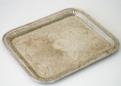 A German rectangular tray, engraved with a shield within an oval surround to the centre,