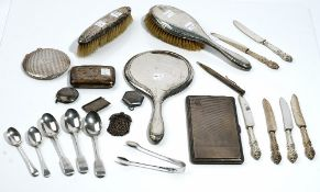 A group of silver and silver mounted wares, comprising; a rectangular cigarette case,