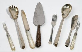 Silver and silver mounted wares, comprising; a pair of salad servers Birmingham 1922,