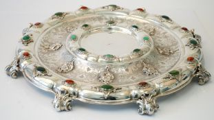 A Continental silver and cabochon varicoloured agate mounted table centrepiece stand,