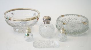 A group of silver mounted glass wares, comprising; a Royal Brierley faceted glass bowl, diameter 20.