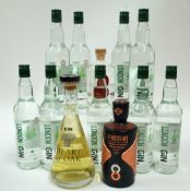 Box 10 - Gin Tesco London Dry Gin (9 Bottles) Heart of Oak Rested Dry Gin Sha Cheng Shuang Ling