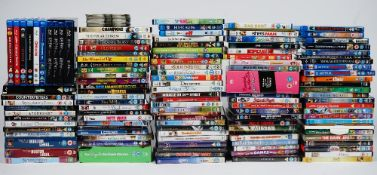 A large collection of DVD's including Blu-ray, mostly children's, Lucky Voice party box,