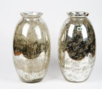 A pair of West Elm mercurial glass vases.