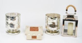 A pair of West Elm cylindrical mercurial glass candle holders, a lantern and other items (qty).