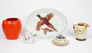 A William Yeoward glass preserve jar, a Richard Bramble 2011 'Happy Shooting' oval platter,