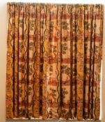 A pair of linen curtains, printed with 18th century hunting scenes. 170cm wide x 150cm long.