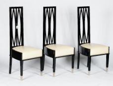 A set of six French black lacquered modernist chairs, 20th century,