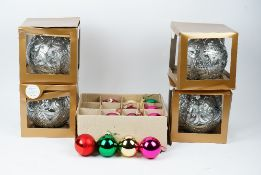 A collection of Christmas tree glass baubles, including four extra large,