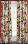 A pair of cream linen fabric curtains, with multicoloured bird and Chinese pattern,