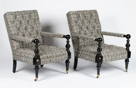 A pair of Nantucket turned ebonised frame armchairs,